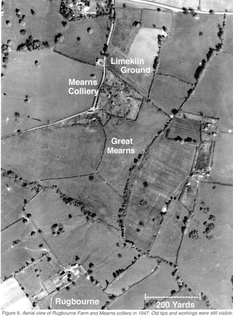 Aerial view of Rugbourne and the site of Mearns Colliery, 1947