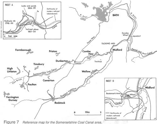 Reference map for the Somersetshire Coal Canal area.
