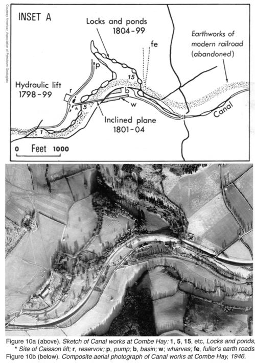 At Boyling's Cottage, enlarged plan and aerial view of the Coal Canal works in 1946.
