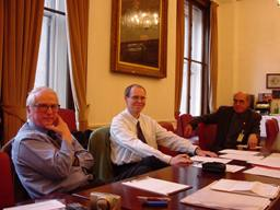 Dr Jens Dieter Becker-Platen (left) with AEGS Secretary Dr Jens Wiegand and Prof. Andresj Slazcka, at an Extraordinary AEGS meeting in Burlington House where the recovery plan for the Association was hammered out in 2000. Photo - Ted Nield