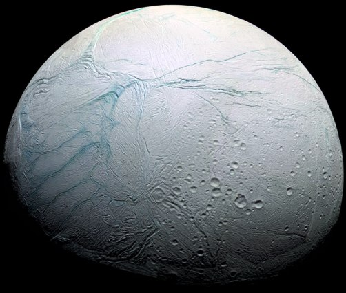 Saturn's moon Enceladus, as seen by the orbiter Cassini. NASA/Cassini Imaging Team. The moon is c. 500km in diameter.