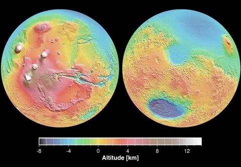 Topographic map of Mars showing the volcanic Tharsis region (shown in red), and the lowlands of the northern hemisphere that are the proposed site of an ancient ocean (shown in blue in the upper parts of both images).
