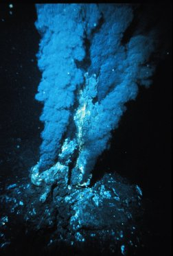 Black Smoker. This jet of hot mineral-laden water from the Atlantic seafloor has built its own chimney (P. Rona OAR/National Undersea Research Program (NURP); NOAA).