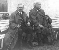 John Horne (left) and Ben Peach outside the Inchnadamph Hotel. Courtesy, BGS