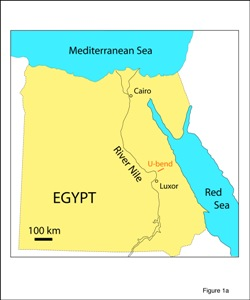 Fig. 1: (a) Schematic map of Egypt. Notice u-bend in River Nile near Luxor. (b) Landsat image of Theban Hills and U-bend of Nile, near Luxor. Limestone plateau (Thebes Formation) dips gently to NNW, away from escarpment of cliffs. Theban Mapping Proj