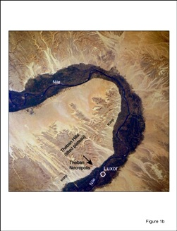 Landsat image of Theban Hills and U-bend of Nile, near Luxor. Limestone plateau (Thebes Formation) dips gently to NNW, away from escarpment of Theban cliffs. Theban Mapping Project.
