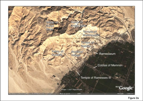 Fig. 2: (a) Satellite image of Theban Necropolis, showing Valley of Kings, Valley of Queens, Tombs of Nobles, Worker's Village, mortuary temples of Ramesses III and Hatshepsut, and Colossi of Memnon. Source of image: Google Earth.
