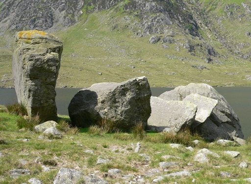 The 'Darwin boulders' viewed towards the south west. All 4 angular boulders (A-D) are on the left and behind D lies the non-angular boulder E. Lynn Idwal can be seen in the background.
