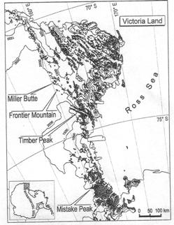Fig 1 Sketch map of find locations (Folco et al., Ref. 4)