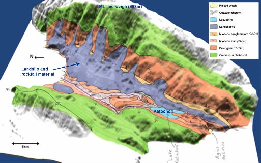 Figure 3: Geological surface survey of Thinia isthmus. The original two-dimensional survey diagram has been rendered by a digital elevation model (DEM).
