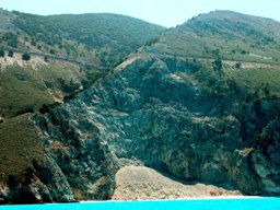 Figure 5b: Deposits of mass wastage due to cliff failure, NE of Agia Kiriaki bay. (Location shown in Figure 4.). Photograph by Robert Bittlestone.