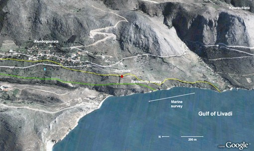 Figure 7: Diagnosed southern exit of Strabo's Channel. Yellow, green lines - see Fig. 4. Red arrow - borehole drilled October 2006 at the southern limit of interruption (by rockfall and landslides) of a track that re-emerges 800m to the north.