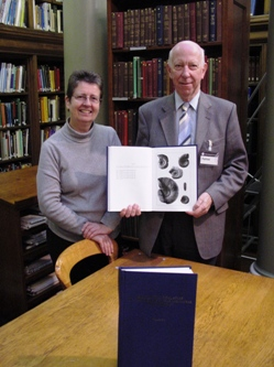 Prof. John C W Cope presents the Englished Uzbek volume to Sheila Meredith, Chief Librarian