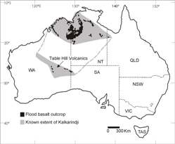 The extent of the Kalkarindji Large Igneous Province (grey), based on chemistry and isotopic age dating of outcropping rocks (black) and drill core samples.