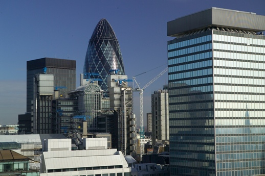 The Swiss RE Tower , aka. the 'Gherkin', and the City of London (BGS reference number P612170)
