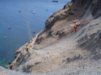 Installation of rockfall containment netting, St Helena