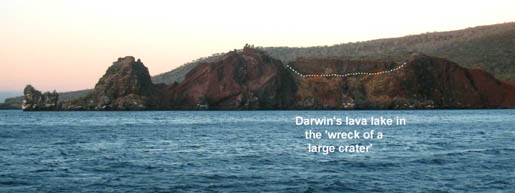 "Figure 3. Darwin's ""wreck of a large crater"" on the promontory at Buccaneer Cove. The lava lake is where we believe he first observed evidence of crystal settling."