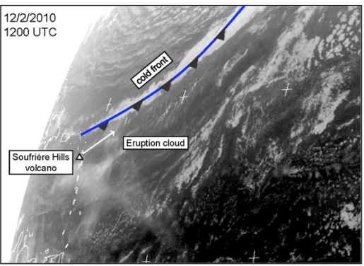Meteosat SEVIRI Channel 7 (8.3-9.1?m infrared, available from www.sat.dundee.ac.uk) shows the ash plume from the eruption was caught up within the warm sector of a frontal system spreading in a northeasterly direction (picture) towards Western Europ
