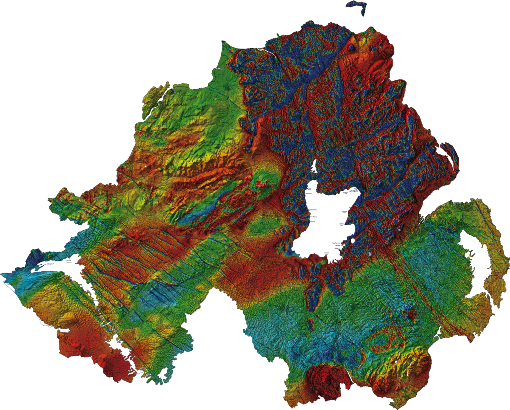 Magnetic map picks out basalt dykes and basic lavas (red)