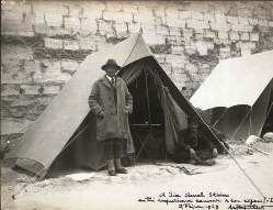 Sir Marc Aurel Stein at his tent in 1929 in central Asia during his many expeditions concerning the archaeological history around the periphery of British India.