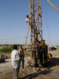 Drilling rig operated by the Geological Survey of Pakistan drills the flood plain of the Indus at Thatta, close to the modern river mouth.