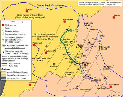 Present and past hydrological conditions of the Dover Beck catchment