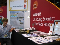 Thos Hearing, Thomas Hardye School, Dorchester, Dorset, Young Scientist of the Year, with his exhibit