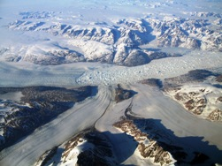 Fig. 2. Rapid recession and iceberg generation has been a characteristic feature of many Greenland glaciers in recent decades, as depicted here by Kangerdlussuak Glacier in East Greenland (Pic: Mike Hambrey).