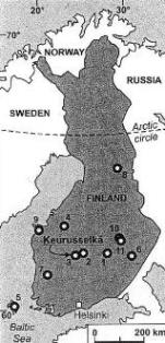 Confirmed structures in Finland (from Ferrière et al. 3)