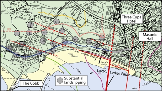 3. Map of Lyme Regis town showing incidence of substantial landslipping and geological faults - including Lucy's Ledge Fault. Data abstracted from 1. © West Dorset District Council and High Point Rendel. Reproduced with permission.