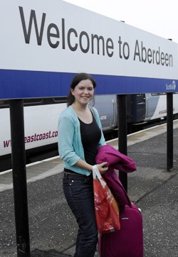 Our intrepid reporter arrives in Aberdeen on her way, over land and sea, to Orcadia