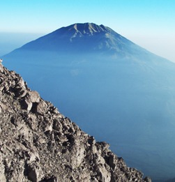 Mt Merbabu from lava dome of Mt Merapi. Photo: KD