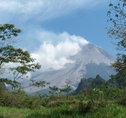 Merapi erupted in October last year. 210 people were killed on its slopes.