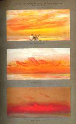 Images of sunsets following Krakatoa eruption, 1883