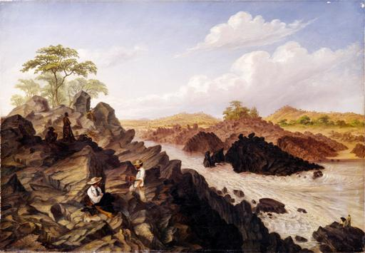 """Shibadda, or two channel rapid, above the Kebrabasa, Zambesi River"", T Baines, January 1859, oil on canvas, © Royal Geographical Society, Baines 24. Surveying the Kebrabasa rapids on the Zambezi, which finally put paid to hopes."