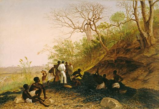 """Working a coal seam near Tete, lower Zambezi"", T Baines, 1859, oil on canvas, © Royal Geographical Society, Baines 35. The figure dressed in white shirt and trousers is likely to be Richard Thornton."