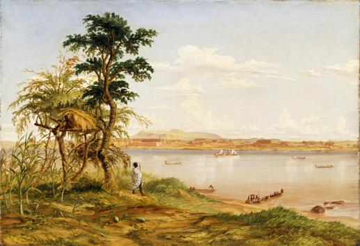 Town of Tete from the north shore of the Zambezi, by T Baines, April 1859, oil, © Royal Geographical Society, Baines 30