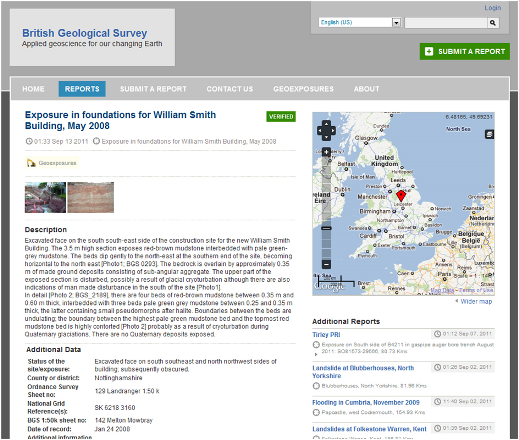 Figure 1. GeoExposures web page: britishgeologicalsurvey.crowdmap.com