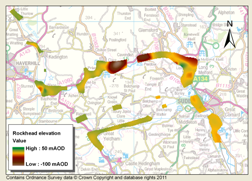 2D delineation of mapped buried valley along the modern day River Stour. Contains Ordnance Survey data © Crown Copyright and database rights 2011.