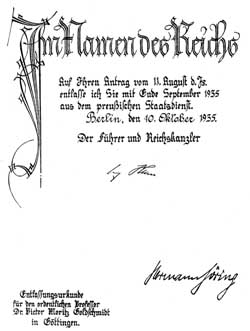 A little something for the mantelpiece - Goldschmidt's letter of dismissal, signed by Hitler and Goering.