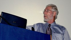 Paul Hoffman at The Geological Society, delivering a guest lecture. Photo - Ted Nield