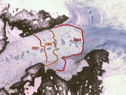 Jakobshavn Glacier Retreat 2001-2003: Jakobshavn Isbrae holds the record as Greenland's fastest moving glacier and major contributor to the mass balance of the continental ice sheet. NASA