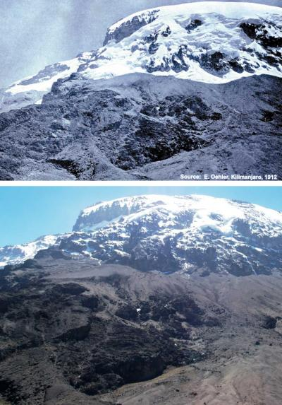 A photograph by Edward Oehler taken in 1912 (top) shows the extent of the icecap atop Mount Kilimanjaro, and a similar photo taken in 2006 by Georg Kaser illustrates the icecap's decline. Photos: Edward Oehler Georg Kaser