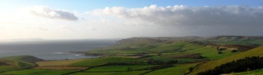 Kimmeridge Bay, with Portland on the horizon. The Solent Regional Group extends beyond it eponymous inlet...