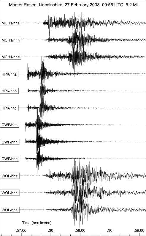 Seismograph traces of the earthquake