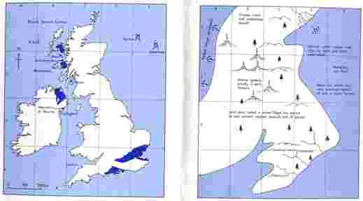 Fig 3 Paleogeography of Britain and Ireland around 55 million years ago (right), showing a coastline hinting strongly at the present-day configuration of land and sea. Outcrop of Paleogene rocks shown (left) for reference.