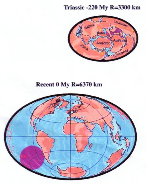 Figure 3. The expanding terrestrial globe: Trias; Recent (from Scalera 2003a). Scalera also shows a projection 250 Myr hence, with even greater expansion,and no clustering of continents to form Novopangaea or Pangaea Ultima.