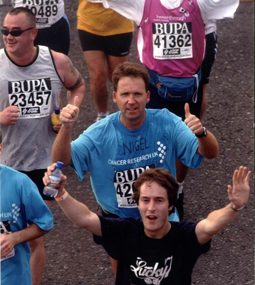 Nigel Platt (centre) running the London Marathon