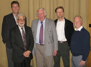 The four speakers at the Bill Ramsbottom meeting. Left to right: Paul Wignall, Bilal Haq, Mike Simmons, Tony Hallam and Martin Whyte
