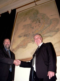 Mr Nigel Press (left) and Dr Richard Fortey FRS (President) unveiled the restored Smith and Greenough geological maps at a reception at Burlington House on February 1.